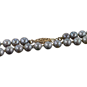 """14K 5mm Grey Pearl Strand Necklace 18.5"""" Yellow Gold"""