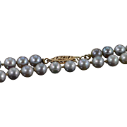 """SALE 14K 5mm Grey Pearl Strand Necklace 18.5"""" Yellow Gold"""