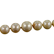 """SALE 18K 5.5-8.5MM Pearl Strand Carved Jade Clasp Necklace 19.75"""" White ..."""