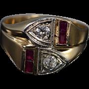 14K Art Deco 0.40 CTW Old Mine Cut Diamond & Ruby Ring - Size 11 / Yellow ...