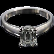 GIA Platinum 1.40 CT Emerald H VS2 Diamond Solitaire Engagement Ring - Size 6 /