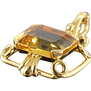 SALE 14K 12 CT Emerald Cut Citrine Fancy Prong Pendant Yellow Gold