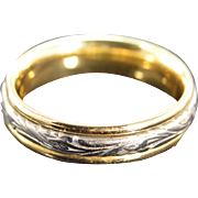 REDUCED 18K Fancy Engraved Spinner Busy Wedding Band Platinum Ring - Size 10 / Yellow/White ..