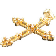 SALE 10K 0.60 CTW Baguette & Round Citrine Cross Pendant Yellow Gold