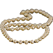 """REDUCED 14K 5.5x4.5 mm Freshwater Pearl Strand Gold Ball Necklace 18"""" Yellow Gold"""