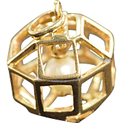 SALE 14K Pearl Bead in 3D Geometric Cage Charm/Pendant Yellow Gold