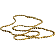 """SALE 14K Rope Necklace 16"""" Yellow Gold"""
