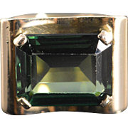 SALE 8K Retro Emerald Cut Green Glass Ring - Size 6.5 / Yellow Gold