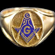 REDUCED 14K Blue Enamel Mason Masonic Signet Ring - Size 10 / Yellow Gold