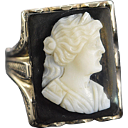 SALE 10K Antique Black Carved Cameo Woman Ring - Size 9 / White Gold