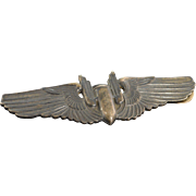 SOLD Sterling Silver Military Bomber Airmen Wings WWII Pin/Brooch