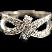 SALE 14K 0.25 CTW Vintage Split Shank Bypass Diamond Ring - Size 7 / White Gold