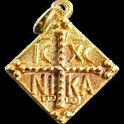 SALE 18K Medieval Motif Catholic Latin Cross Charm/Pendant Yellow Gold