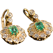 14K Victorian 1.50 CTW Emerald 2.80 CTW Old Mine Cut Diamond Dangle Earrings ...