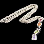 "SALE 14K 5.50 CTW Multi Colored Gemstones Diamond Geometric Link Necklace 18"" White Gold"