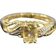 SALE 10K 0.76 CTW Oval Lemon Quartz & Diamond  Ring - Size 5 / Yellow Gold
