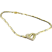 "SALE 18K 1.75 CTW Diamond Heart 2 Tone Necklace 17"" Yellow Gold"