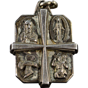 SALE Sterling Silver Religious Figure Cross Pendant
