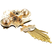 10K Victorian Taille D'Epargne Lavalier with Seed Pearl Center Pin/Brooch Rose Gold