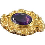 """10K 7 CT Amethyst Victorian Mourning  Pin/Brooch Yellow Gold Back Engraved: """"In Loving Me"""