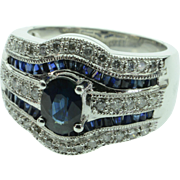 REDUCED 14K 1.57 CTW Sapphire & Diamond Cocktail Ring - Size 7 / White Gold