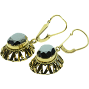 REDUCED 14K Faceted Hematite Drop Filigree Earrings Yellow Gold