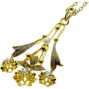SALE 14K Vintage Mine Cut Diamond & Seed Pearl Necklace 15 Yellow Gold