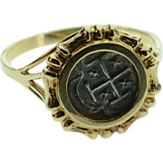 SALE 14K Replica Spanish Reale Coin Ring - Size 7.75 / Yellow Gold