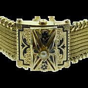 """SALE Gold Filled Victorian Mourning Black Enamel Bracelet 7"""""""