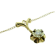 """SALE 14K 0.15 CT Diamond Solitaire Victorian Flower Link Necklace 19"""" Yellow Gold"""