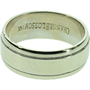 REDUCED 14K Grooved Plain Wedding Band Ring - Size 7.25 / White Gold