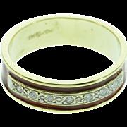 SALE 14K Antique 0.10 CTW Diamond Red Enamel Ring - Size 6.75 / Yellow Gold
