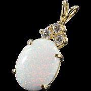 REDUCED 14K Imitation Opal & Cubic Zirconia Pendant Yellow Gold