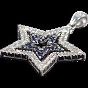 SALE 14K 1 CTW Diamond & Sapphire 2 Part Star Pendant White Gold
