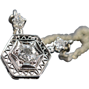 "REDUCED 14K Victorian Filigree 0.37 CTW Diamond Pendant Link Necklace 15.5"" White Gold"