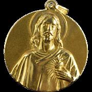 SALE 14K Virgin Mary Jesus Circle Pendant Yellow Gold