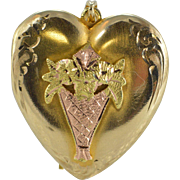 10K Flower Etched Tri Color Motif Heart Photo Locket Pendant Yellow Gold