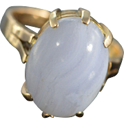 REDUCED 18K White Agate Cabochon Claw Prong Antique Ring - Size 6.75 / Yellow Gold