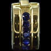 SALE 18K 0.25 CTW Sapphire Slide Pendant Yellow Gold