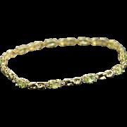 "REDUCED 10K 2.01 CTW Lime Quartz & Diamond Tennis Bracelet 7"" Yellow Gold"