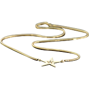 """REDUCED 14K 0.02 CT Diamond Star Pendant Snake Necklace 16"""" Yellow Gold"""