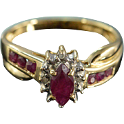 SALE 10K 0.52 CTW Ruby Diamond Halo Ring - Size 7 / Yellow Gold
