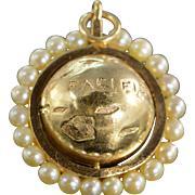 SALE 14K Pearl Beaded 3D Spinning Globe Charm/Pendant Yellow Gold