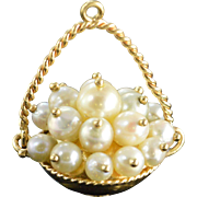 SALE 14K 3D Articulated Pearl Bead Basket Charm/Pendant Yellow Gold
