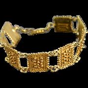 "SALE Sterling Silver Marcello Fontana Modernist Gold Plated Bracelet 6.5"""