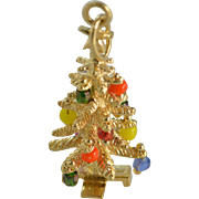 SALE 14K 3D Multi Colored Bead Ornament Christmas Tree Charm/Pendant Yellow Gold