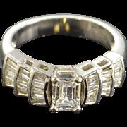 Platinum 0.75 CT Emerald Cut F / VS1 Diamond 1.25 CTW Diamond Engagement Ring ...