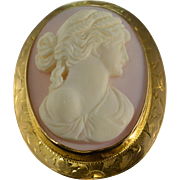 SALE 10K Victorian Detailed Cameo Woman Hand Carved Frame Pendant Yellow Gold