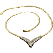 "14K 1.00 CTW Diamond Chevron Link Necklace 18"" Yellow Gold"