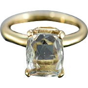 14K 3 CT Aquamarine Prong Set Ring - Size 6 / Yellow Gold